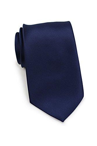 Puccini Uni Krawatte, Tie, Binder, Herren-/Hochzeitskrawatten, Schlips, Plastron │ 8.5cm schmal-slim │ einfarbig-unifarbig: Dunkelblau