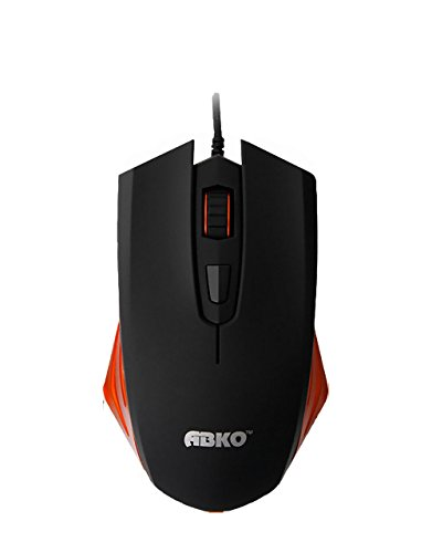 Abko Mx1100 Laser Gaming Mouse - Wired Mouse - Optica Sensor 1600DPI - Kaihua Kailh 5million Switch - Orange Color Point - Black