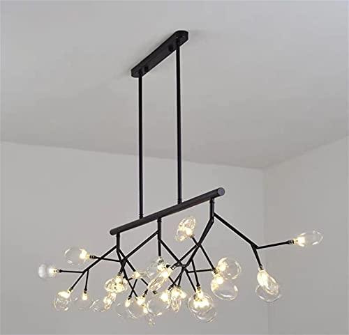 ZTKBG 27 Lampadario a Sospensione da Tavolo da Pranzo a Fiamma, lampadario a Sputnik a LED, Moderno lucciola G4 LED Lampada a Sospensione ramificata, sfumatura Trasparente per salotti (Color : Black)