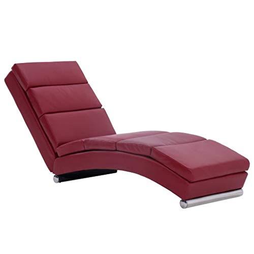 vidaXL Sdraio Imbottita Elegante Ergonomica Cislonga Chaise Lounge Lettino Arredo Salotto Ottomana Gambe in Acciaio Vino Rosso in Similpelle