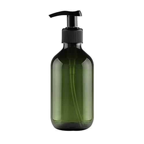 Botella de botella popular Botella de la bomba Botella de empuje para rellenar Viajes portátiles para viajes de negocios Champú con látex, etc. Botella de viaje 300 ml Verde oscuro Cómodo y ecológico
