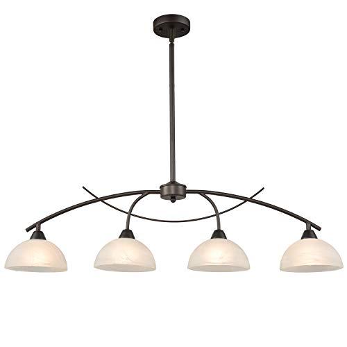 Dazhuan Vintage Frosted Glass Shade Chandelier 4-Lights Pendant Lighting Hanging Ceiling Lamp