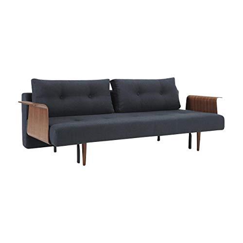 Innovation Recast Plus slaapbank met armleuningen 227 x 96 cm, donkerblauw stof 515 Blue Nist Frame staal zwart poten hout donker armleuningen walnoot fineer