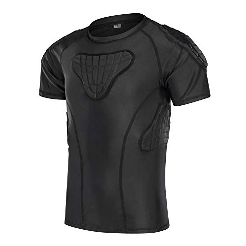 Padded Shirt Youth Boys Padded Compression Sports Protective T-Shirt Rib Chest Extreme Exercise, Black, YS