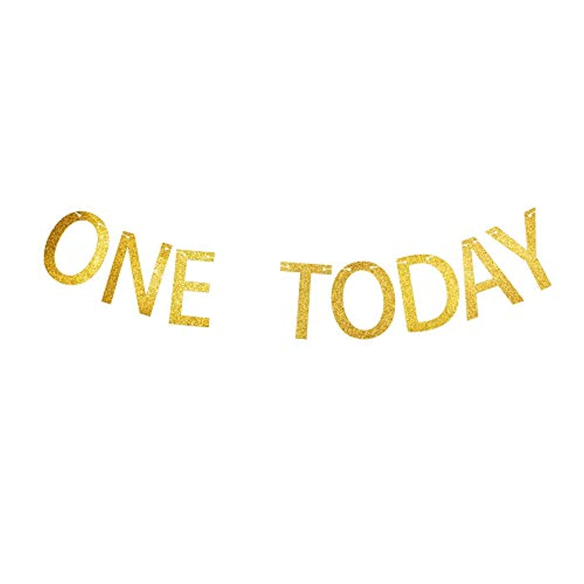 One Today Banner, Baby Boys/Girls First/1st Birthday Party Signs Decorations Gold Gliter Paper Garland