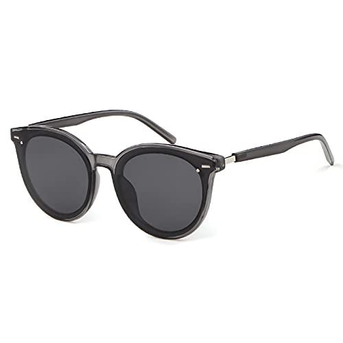 ADE WU Gafas de sol redondas clásicas retro para mujer Gafas de sol de gran tamaño con protección UV