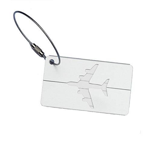 Kofferanhänger Koffer , Aluminium Gepäckanhänger Kofferanhänger mit Adressschild Edelstahlkabel wasserdichte PVC-Karte mit Namensschild Adresse Tag Flugzeug Gepäckanhänger aus Metall (Silber)