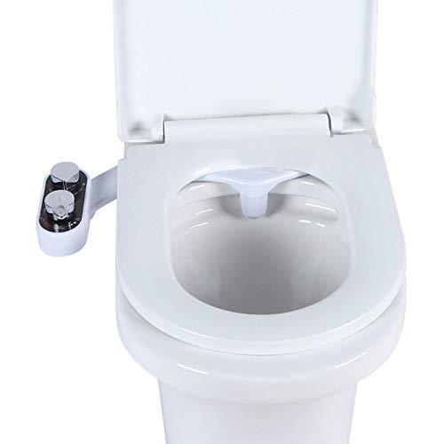 Bidé de doble boquilla de flujo ajustable de doble propósito, frío y caliente, fácil de limpiar para baño(British regulations G1/2, Black)