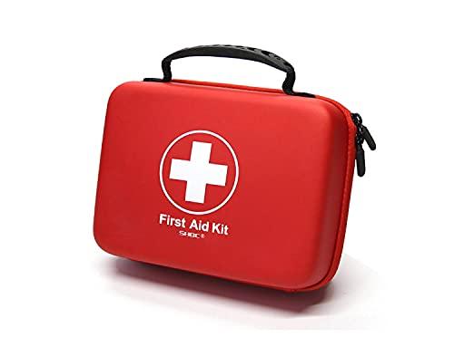SHBC Kit de Primeros Auxilios (228 Piezas) Compacto Diseñado para Cuidados Familiares de Emergencia. Carcasa de EVA a Prueba de Agua. Esta Bolsa es Ideal para el Coche, Barco, Camping, Oficina. Rosa