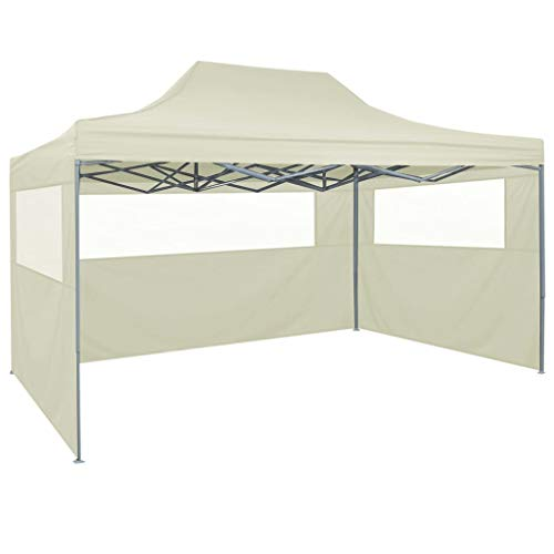 Tidyard Pop-up Party Tent with 4 Sidewalls | Steel Frame Folding Gazebo Tent | Garden Waterproof Canopy 3x4 m Cream