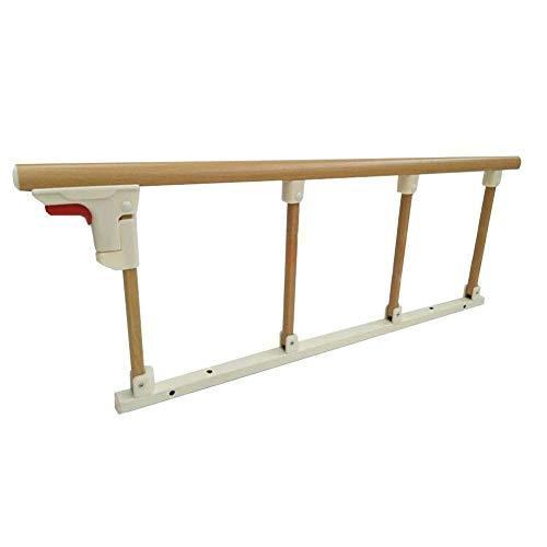 Bettgitter Faltbarer Seiten-Sicherheits-Unterstützungsgriff für ältere Menschen, Erwachsene Metallbett-Geländer-Handikap-Krankenhaus-Griff-Stoßstange, 94 × 35 cm (Color : Wood Color)