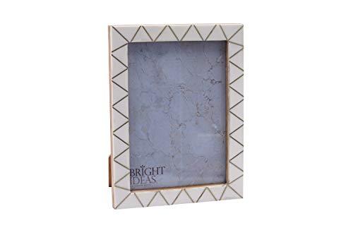 CGB Giftware witte hars en messing Zig Zag patroon ontwerp 5'' x 7'' tafelblad en muur foto fotolijst van heldere ideeën | Wordt geleverd Gift Boxed GB04645