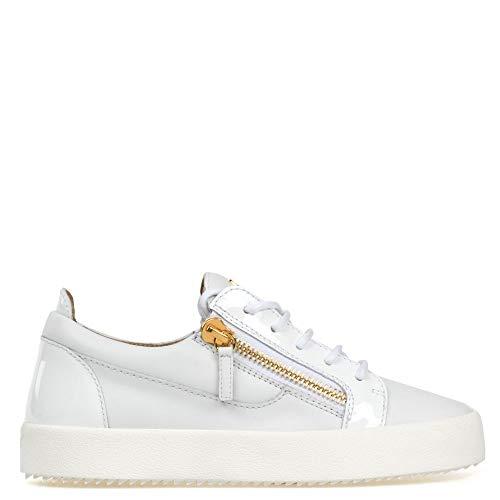ZANOTTI Sneakers in Pelle Bianca con Inserti in Vernice Bianca Zip E Logo Oro (37)