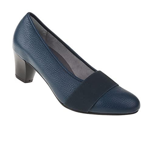 Natural Feet Damen Pumps Janine | Echtes Hirschleder | Weite H | Hallux geeignet 40 blau
