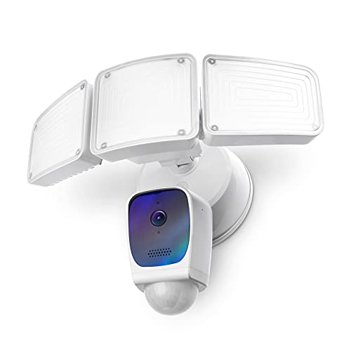 Home Zone Security Triple Head Floodlight Camera – Smart 2.4 GHz 1080P Outdoor Hardwired 3500 Lumen LED Flood Light Camera with 128GB Local Storage Included, White