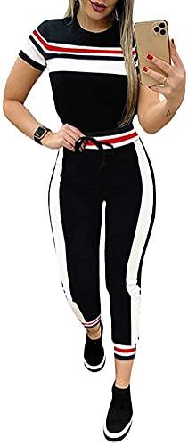 Onsoyours 2 Pezzi Completo Tuta Body Sportiva Estiva da Donna Attillata Yoga Sottile Donna Sexy a Maniche Corte B Blu M
