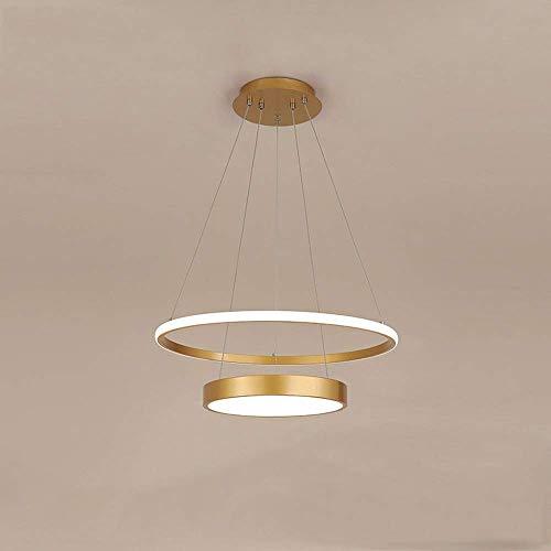 WEM Lámpara colgante de techo de acrílico blanco con pantalla de acrílico regulable, moderna y sencilla, con control remoto, dormitorio, comedor, restaurante, 2 luces (30 + 50 cm), accesorios de ilum