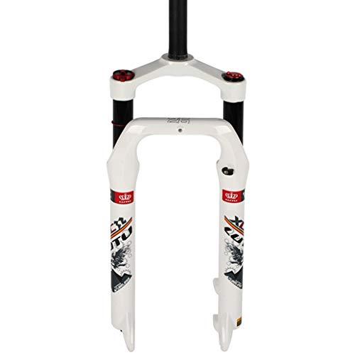 LHHL 26' Bicicleta Suspensión Horquilla de Aire Horquilla BMX Bicicleta Control Manual 115 mm Viaje Para 4.0 Neumáticos Freno de Disco, color blanco, tamaño 26'/66 cm