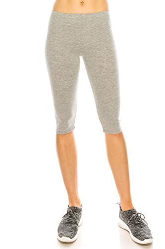 Women's Leggings Capri Ultra Soft Yoga Gym Regular and Plus Size 10+ Colors Made in The U.S.A. Heather Grey