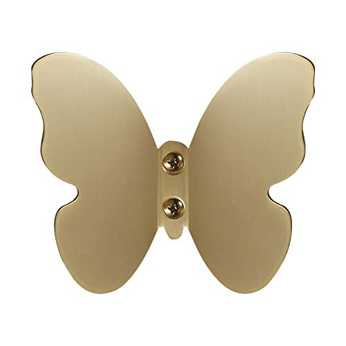 ZUZPAO Double Hat Coat Hook, Brushed Gold Creative Butterfly Hook Solid Brass Coat Hooks for Wall, Double Prong Robe Hooks and Double Door Hooks for Coat,Scarf,Bag,Towel,Key,Hat