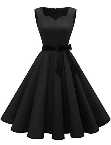 Gardenwed Mujer Vestido Corto Mujer Retro Años 50 Vintage Vestido de Cóctel Black XL