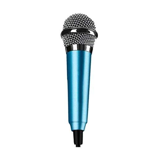 Hiinice Mini micrófono estéreo Estudio Ktv Karaoke portátil Micrófono Instrumento de móvil portátil Teléfono Portátil Azul