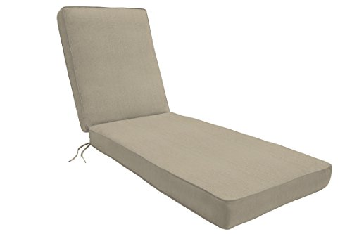 """Eddie Bauer Home Chaise Double Piped 23"""" W x 75"""" L x 2.5"""" H, Canvas Taupe"""