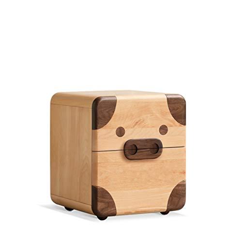 LZY Massivholz-niedliches Haustier-Modelling-Nachttisch, Kinder-Cartoon-Lagerschrank, Lagerschrank Mit Zwei Schubladen, Schlafzimmerbettkabinett (Farbe : B)