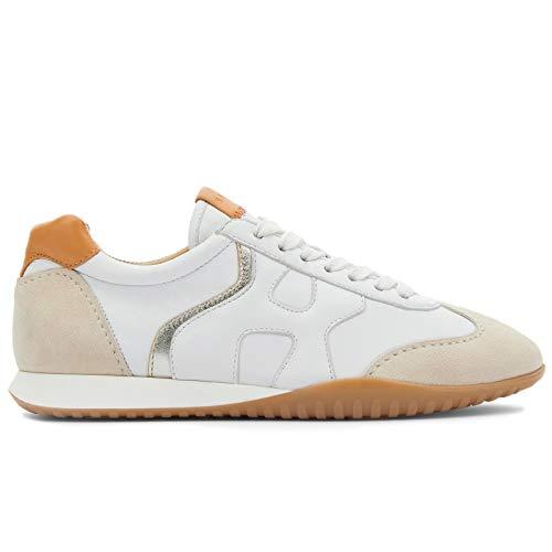 Hogan Olympia Z - Zapatillas deportivas para mujer, color blanco y beige, de piel y ante – HXW5650DO00 POO0SRE – Talla Blanco Size: 39 EU