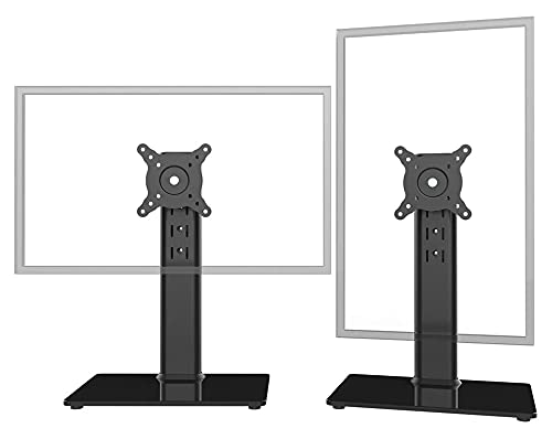 TabloKanvas Solicitud LCD Computer Monitor 2 Pack Soporte de Escritorio de pie Libre con rotación Ajustable de Altura giratoria (Color : Black)