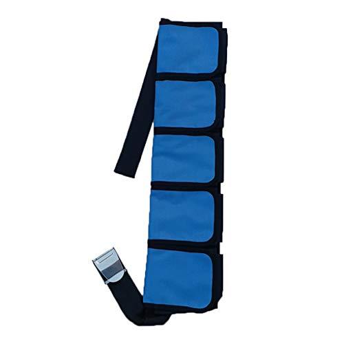 Milageto Buceo Bolsillos Cinturón de Peso Buceo con Esnórquel Bandas de Cintura para Buceo Libre - Azul Claro y Negro, 5 Bolsillos