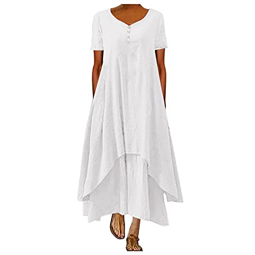 Vestido de verano de lino para mujer, cuello en V, vestido de playa, monocolor, línea A, vestido bohemio, largo hasta la rodilla, sin accesorios White_#17a XXL