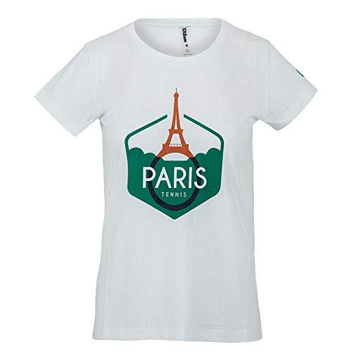 WILSON Paris Tech Tee - Camiseta de tenis para mujer (talla M), color blanco