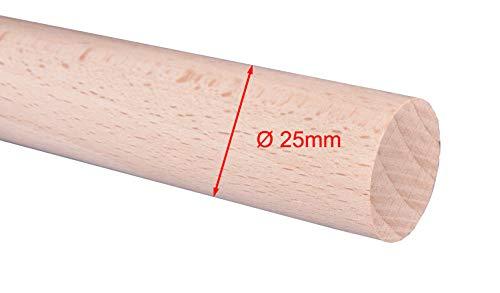 Rundstab Rundholz BUCHE geschliffen o. geölt Durchmesser 15, 20, 25, 30mm Lä: 1m (Ø 25mm, ROH, geschliffen)