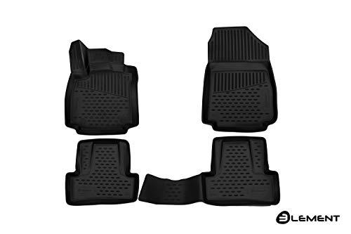 Element EXP.ELEMENT3D4145210k 3D Passgenaue Premium Antirutsch Gummimatten Fußmatten Renault Clio IV 4 2012-2019, Schwarz, Passform