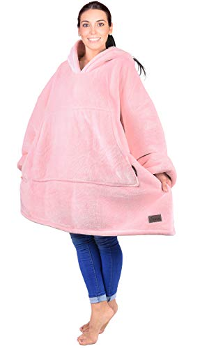 Oversized Hoodie Blanket Sweatshirt,Super Soft Warm Comfortable Sherpa Giant Pullover with Large Front Pocket,for Adults Men Women Teenagers Kids Wife Girlfriend,Pink