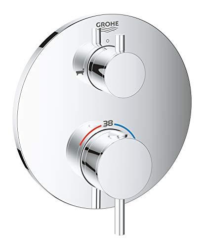 GROHE 24138003 - Atrio Grifo para bañera con termostato y cambio de 2 vías, Redondo, Cromo