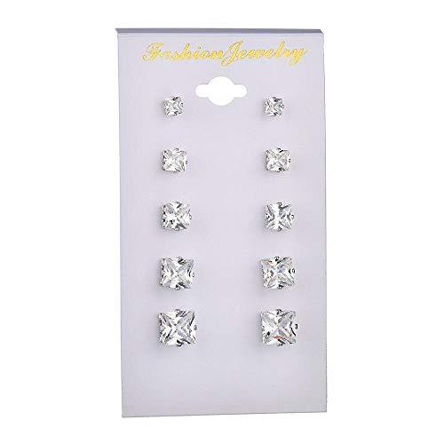 金桥Nuevos pendientes de circonitas de seis garras, cristal 6 pares de pendientes de regalo