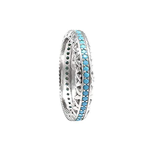 Blue Apple Co. 4mm Full Eternity Stackable Wedding Band Ring Round Simulated Nano Turquoise 925 Sterling Silver, Size - 8