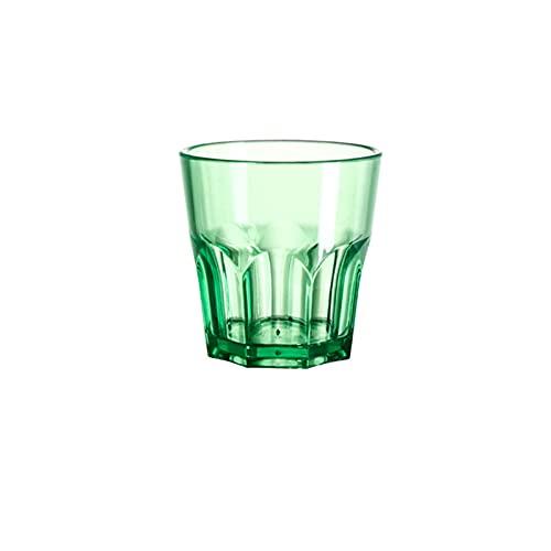 Mosako - Taza de plástico reutilizable, irrompible, diseño octogonal apilable, color verde