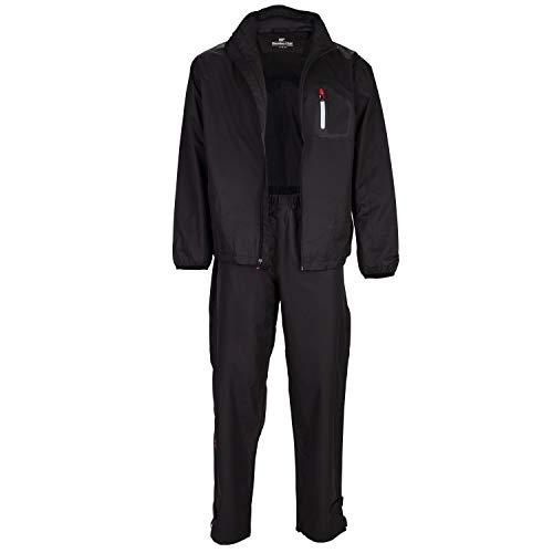 Founders Club Golf Mens Rain Suit Waterproof Jacket and Waterproof Pants (XL) Black