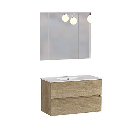Baikal 830134017 Conjunto de Muebles de Baño con Lavabo y Espejo, Suspendido a la Pared, Dos Cajones, Nature, 100 X 55 X 46 cm
