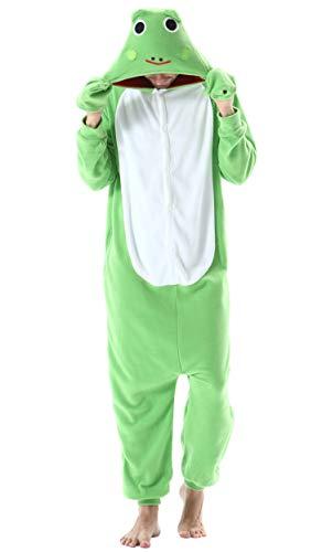Pijama Animal Entero Unisex para Adultos con Capucha Cosplay Pyjamas Ropa de Dormir Kigurumi Traje de Disfraz para Festival de Carnaval Halloween Navidad Verde Rana