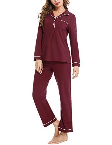Akalnny Pijamas Mujer Algodón con Mangas Largas Conjunto de Pijama Botones Camisero Mujer Ropa de Casa Dormir Cuello v