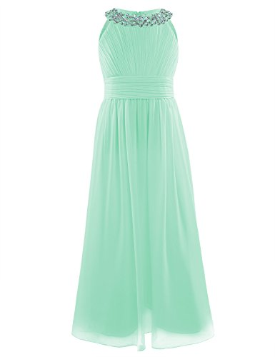 iEFiEL Junior&Girls Bridesmaid Elegant Sequins Neckline Long Chiffon Dress Pleating Prom Gown Mint Green 10