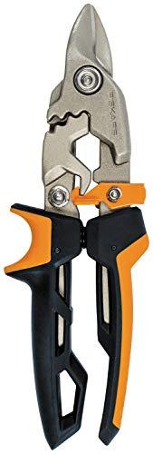 Fiskars Cisaille Aviateur, Coupe Droite, Jusqu'à 40% de puissance en plus, Longueur 25 cm, Acier/Plastique, Noir/Orange, PowerGear, 1027207