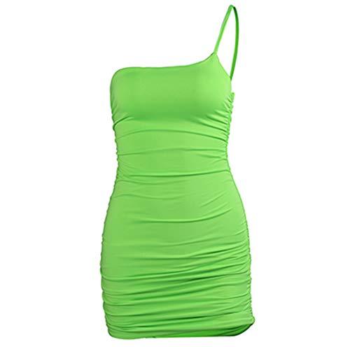 Vrouwen Sexy One Shoulder Strap Jurk Geplooide Vest Rok Jurk Party Clubwear Night Club Clubwear Jurk