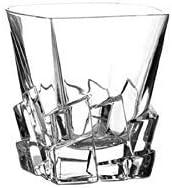 6 Verres à Whisky Carré en Cristal - Service Glacier (28cl) - Artisan du Cristal - Fait Main - Coffret Cadeau -...