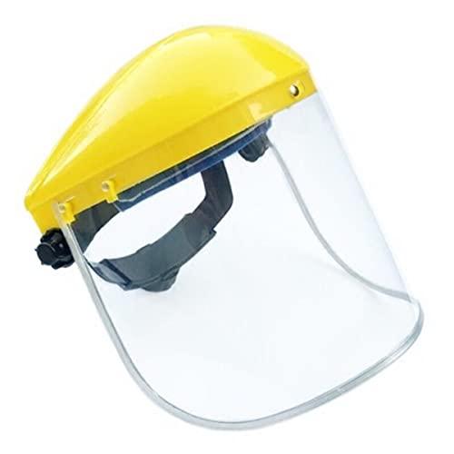 Nihlsen Visera protectora Visera protectora para ojos y cabeza con arnés de trinquete Máscara protectora para máscara facial amarilla