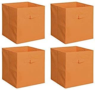 New Home Storage Bins Organizer Fabric Cube Boxes Shelf Basket Drawer Container Unit (4, Orange)